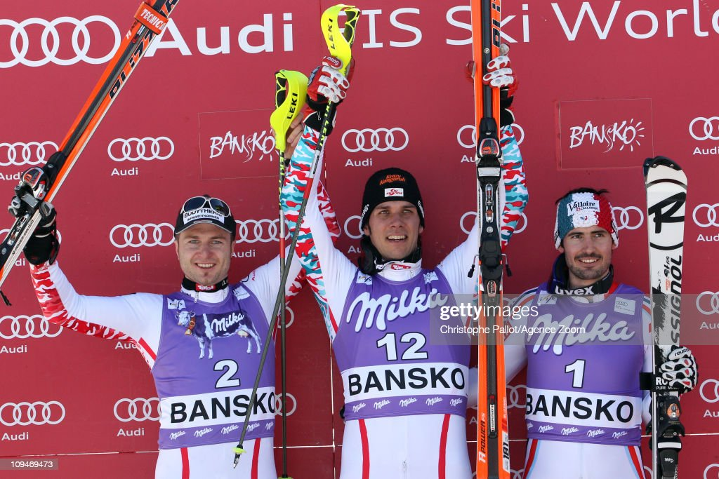<a gi-track='captionPersonalityLinkClicked' href=/galleries/search?phrase=Mario+Matt&family=editorial&specificpeople=816226 ng-click='$event.stopPropagation()'>Mario Matt</a> of Austria takes 1st place, <a gi-track='captionPersonalityLinkClicked' href=/galleries/search?phrase=Reinfried+Herbst&family=editorial&specificpeople=833347 ng-click='$event.stopPropagation()'>Reinfried Herbst</a> of Austria takes 2nd place, Jean Baptiste Grange of France takes 3rd place during the Audi FIS Alpine Ski World Cup Men's Slalom on February 27, 2011 in Bansko, Bulgaria.