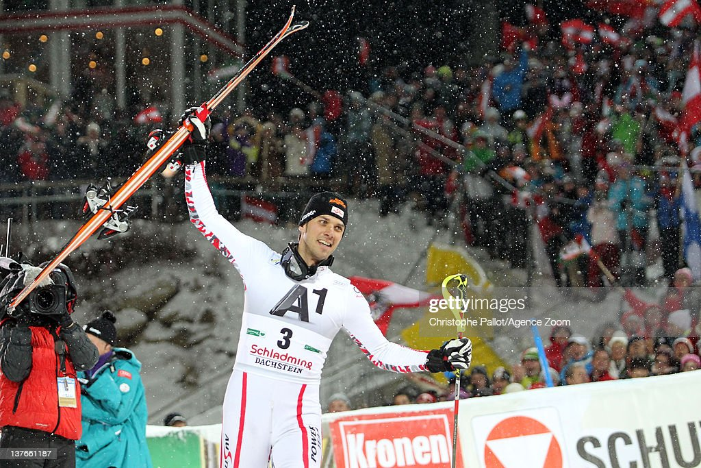 <a gi-track='captionPersonalityLinkClicked' href=/galleries/search?phrase=Mario+Matt&family=editorial&specificpeople=816226 ng-click='$event.stopPropagation()'>Mario Matt</a> of Austria takes 3rd place during the Audi FIS Alpine Ski World Cup Men's Slalom on January 24, 2012 in Schladming, Austria.