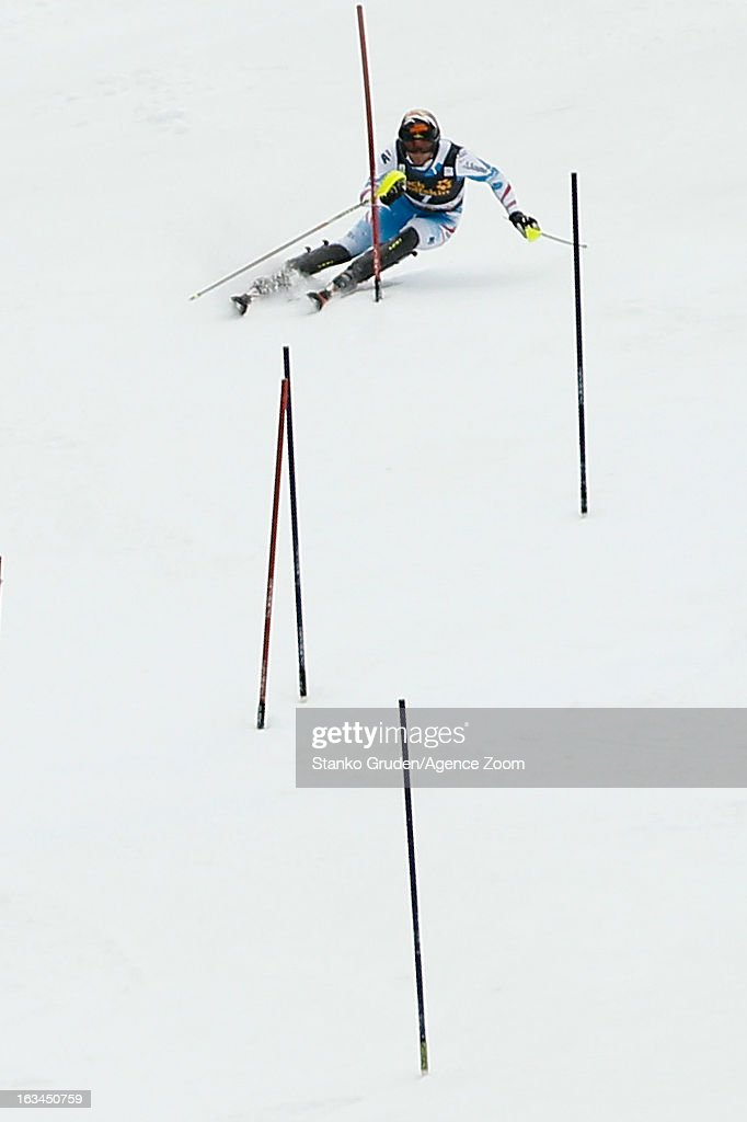 Mario Matt of Austria takes 3rd place during the Audi FIS Alpine Ski World Cup Men's Slalom on March 10, 2013 in Kranjska Gora, Slovenia.