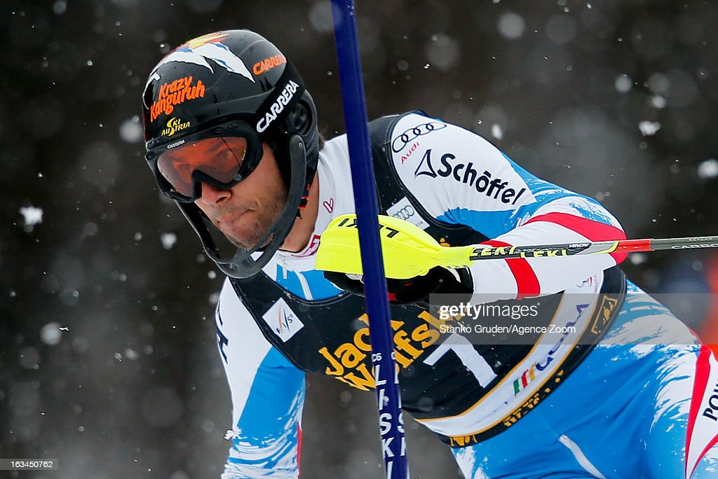 Mario Matt of Austria takes 3rd place during the Audi FIS Alpine Ski World Cup Men's Slalom on March 10, 2013 in Kranjska Gora, Slovenia.