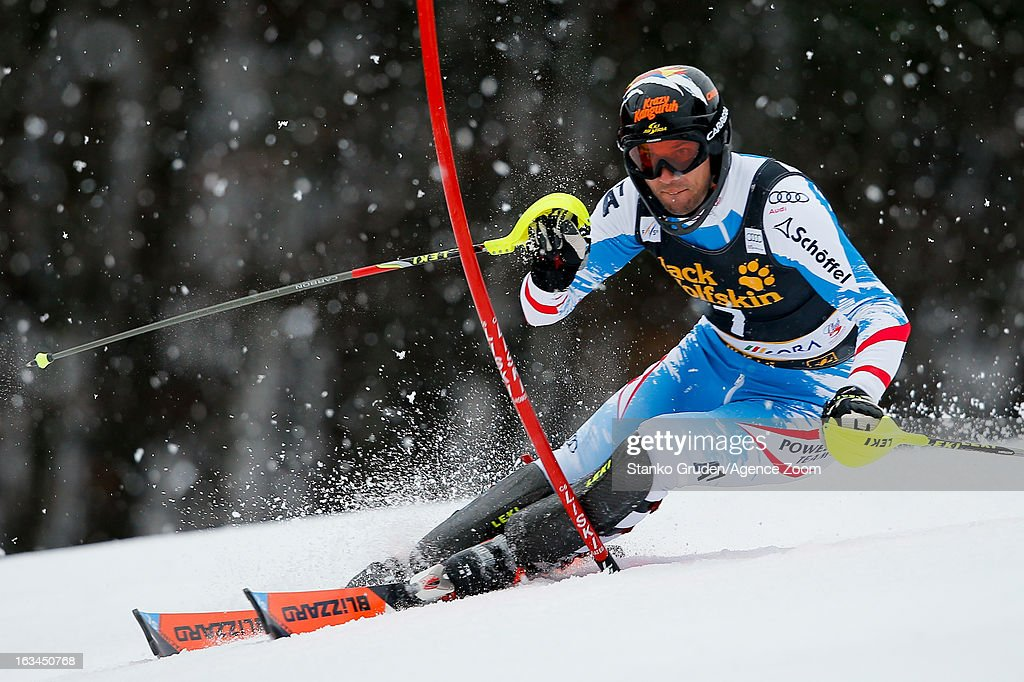 <a gi-track='captionPersonalityLinkClicked' href=/galleries/search?phrase=Mario+Matt&family=editorial&specificpeople=816226 ng-click='$event.stopPropagation()'>Mario Matt</a> of Austria takes 3rd place during the Audi FIS Alpine Ski World Cup Men's Slalom on March 10, 2013 in Kranjska Gora, Slovenia.