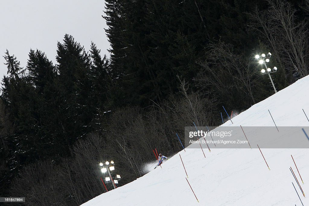 Mario Matt of Austria wins the bronze medal during the Audi FIS Alpine Ski World Championships Men's Slalom on February 17 2013 in Schladming Austria