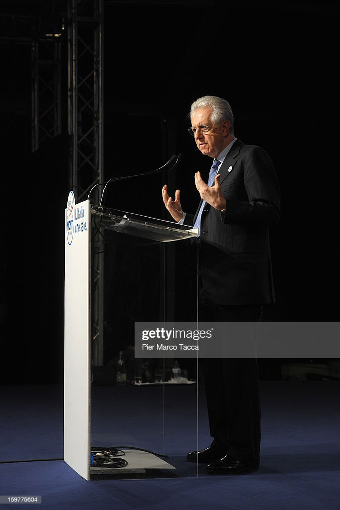 <a gi-track='captionPersonalityLinkClicked' href=/galleries/search?phrase=Mario+Monti&family=editorial&specificpeople=632091 ng-click='$event.stopPropagation()'>Mario Monti</a> delivers a speech at a campaign rally for his centrist alliance 'With Monti For Italy' (Con Monti Per L'Italia) at Kilometro Rosso on January 20, 2013 in Bergamo, Italy. Monti used the rally to unveil the list of candidates for the 'Civic Choice' (Scelta Civica) movement, a bloc that will form part of the centrist alliance running in February's parliamentary elections.