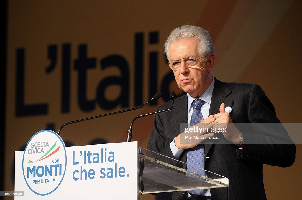 Mario Monti delivers a speech at a campaign rally for his centrist alliance 'With Monti For Italy' (Con Monti Per L'Italia) at Kilometro Rosso on January 20, 2013 in Bergamo, Italy. Monti used the rally to unveil the list of candidates for the 'Civic Choice' (Scelta Civica) movement, a bloc that will form part of the centrist alliance running in February's parliamentary elections.