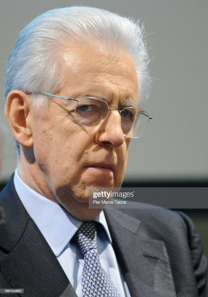 Mario Monti delivers a speech during the presentation of Lombardy candidates of 'Scelta Civica con Monti per l'Italia' on January 26, 2013 in Milan, Italy. Monti used the rally to unveil the list of Lombardy candidates for the 'Civic Choice' (Scelta Civica) movement that will be running in February's parliamentary elections.