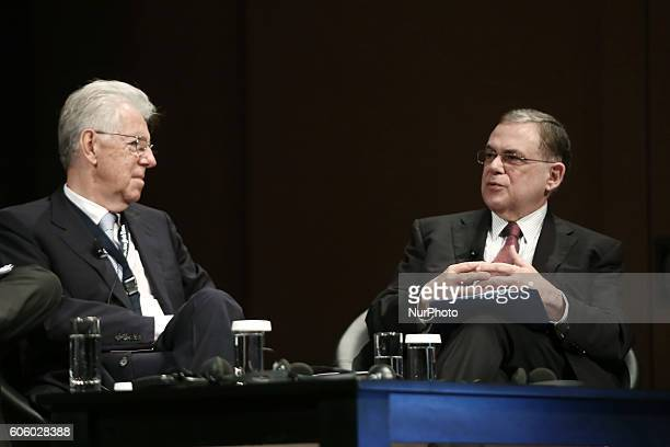 Mario Monti economist and former prime minister of Italy and Lucas Papademos vice president Academy of Athens and former prime minister of Greece at...