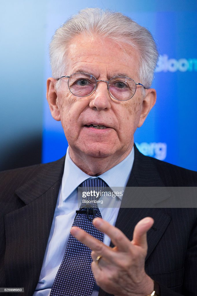 Mario Monti, former Italian prime minister, gestures whilst speaking during a debate entitled 'The Implications of Brexit' in London, U.K., on Friday, April 29, 2016. U.K. Prime Minister David Cameron said he'll hold a long-pledged referendum on the U.K.s membership of the European Union on June 23. Photographer: Jason Alden/Bloomberg via Getty Images