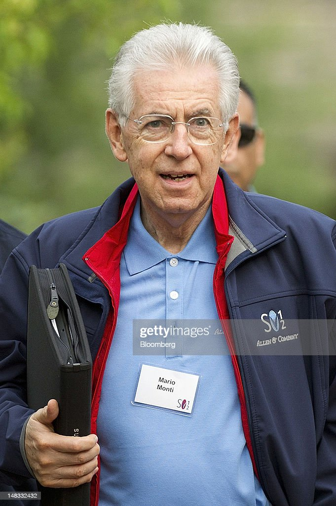 <a gi-track='captionPersonalityLinkClicked' href=/galleries/search?phrase=Mario+Monti&family=editorial&specificpeople=632091 ng-click='$event.stopPropagation()'>Mario Monti</a>, Italy's prime minister, arrives for the morning session at the Allen & Co. Media and Technology Conference in Sun Valley, Idaho, U.S., on Saturday, July 14, 2012. Some of the media industry's largest buyouts have been hatched or moved forward at Sun Valley, including Comcast Corp's 2011 purchase of NBC Universal. Photographer: David Paul Morris/Bloomberg via Getty Images