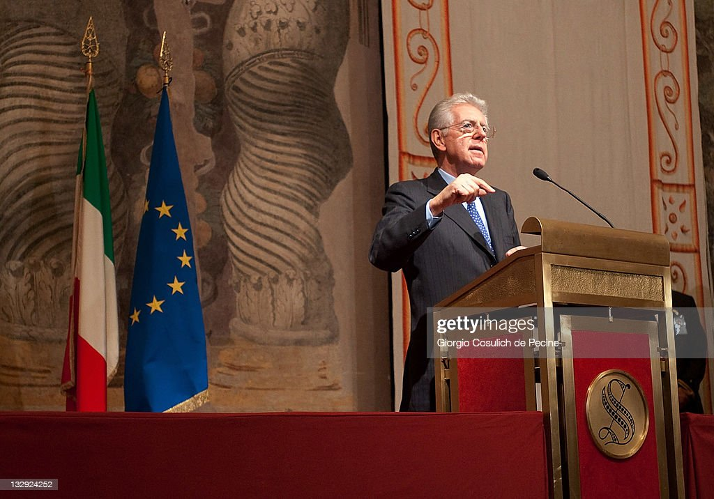 <a gi-track='captionPersonalityLinkClicked' href=/galleries/search?phrase=Mario+Monti&family=editorial&specificpeople=632091 ng-click='$event.stopPropagation()'>Mario Monti</a>, the new appointed Italian Prime Minister, speaks during a press conference after the consultations to form a new government, at Palazzo Giustiniani on November 15, 2011 in Rome, Italy. Prime Minister Silvio Berlusconi handed his resignation to the President of the Republic Giorgio Napolitano on November 13, 2011, ending his controversial 17-year political career after the Lower House of Parliament approved the Government's austerity package.