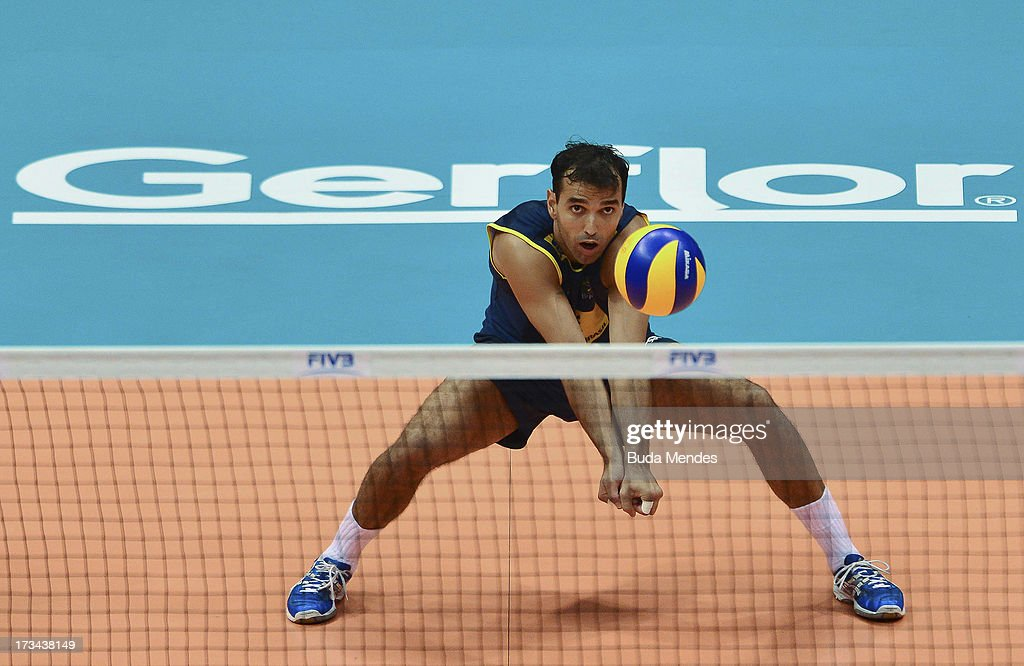 Mario of Brazil in action against USA during a match between Brazil and USA as part of the FIVB Volleyball World League 2013 at the Maracanazinho gymnasium on July 14, 2013 in Rio de Janeiro, Brazil.