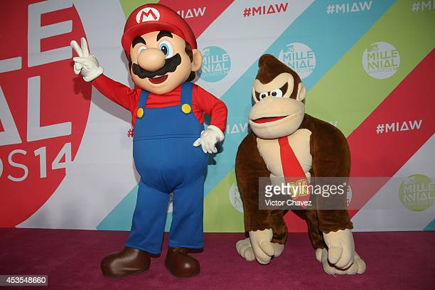 Mario of Mario Bros and Donkey Kong attend the MTV Millennial Awards 2014 red carpet at Pepsi Center WTC on August 12 2014 in Mexico City Mexico