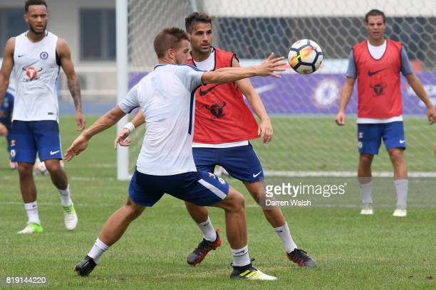 Mario Pasalic and Cesc Fabregas of Chelsea during a training session at the AOTI Stadium on July 20 2017 in Beijing China