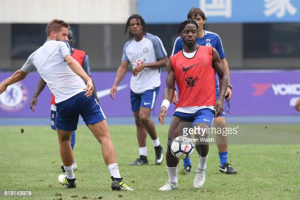 Mario Pasalic and Michy Batshuayi of Chelsea during a training session at the AOTI Stadium on July 20 2017 in Beijing China