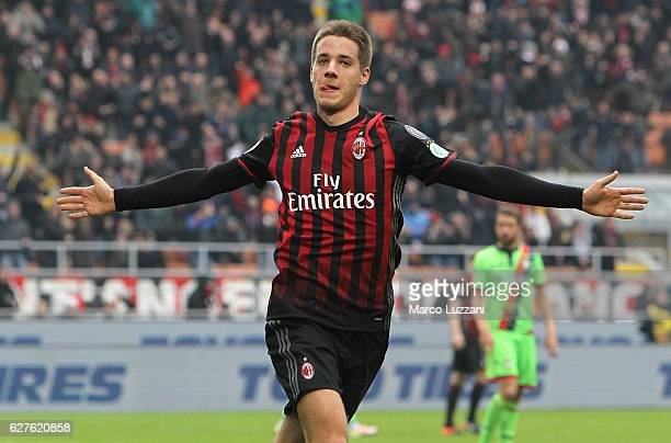 Mario Pasalic of AC Milan celebrates his goal during the Serie A match between AC Milan and FC Crotone at Stadio Giuseppe Meazza on December 4 2016...