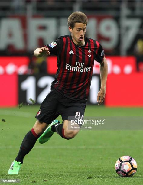 Mario Pasalic of AC Milan in action during the Serie A match between AC Milan and AS Roma at Stadio Giuseppe Meazza on May 7 2017 in Milan Italy