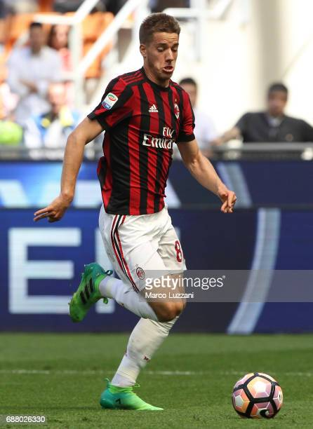 Mario Pasalic of AC Milan in action during the Serie A match between AC Milan and Bologna FC at Stadio Giuseppe Meazza on May 21 2017 in Milan Italy