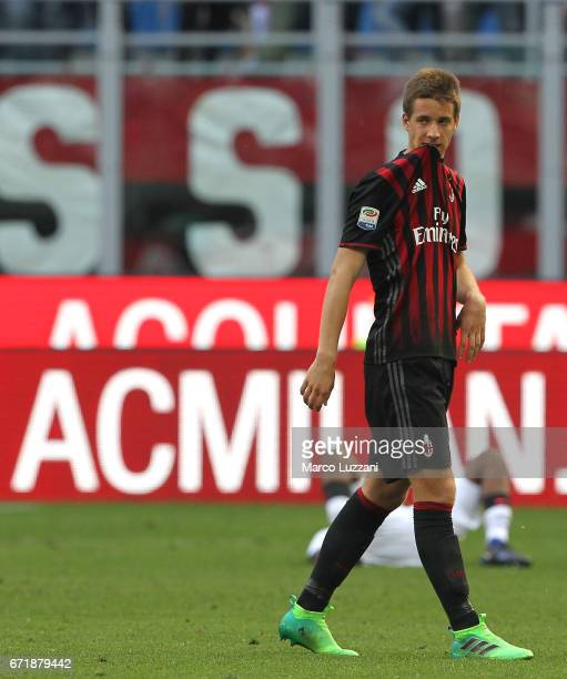 Mario Pasalic of AC Milan shows his dejection at the end of the Serie A match between AC Milan and Empoli FC at Stadio Giuseppe Meazza on April 23...