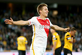 Mario Pasalic of AS Monaco celebrates after scoring his team's third goal during the UEFA Champions League third qualifying round 1st leg match...
