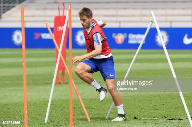 Mario Pasalic of Chelsea during a training session at Singapore American School on July 28 2017 in Singapore