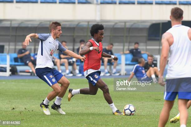 Mario Pasalic Willian of Chelsea during a training session at the AOTI Stadium on July 20 2017 in Beijing China