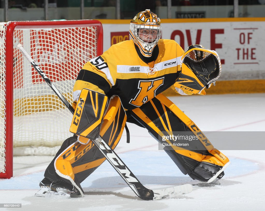 Mario Peccia #50 of the Kingston Frontenacs gets set to face a shot against the Peterborough Petes in an OHL game at the Peterborough Memorial Centre on October 12, 2017 in Peterborough, Ontario.