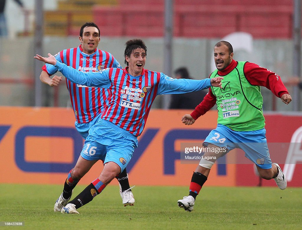 Mario Pietralunga of Catania celebrates after scoring the equalizing goal during the Serie A match between Calcio Catania and UC Sampdoria at Stadio Angelo Massimino on December 16, 2012 in Catania, Italy.