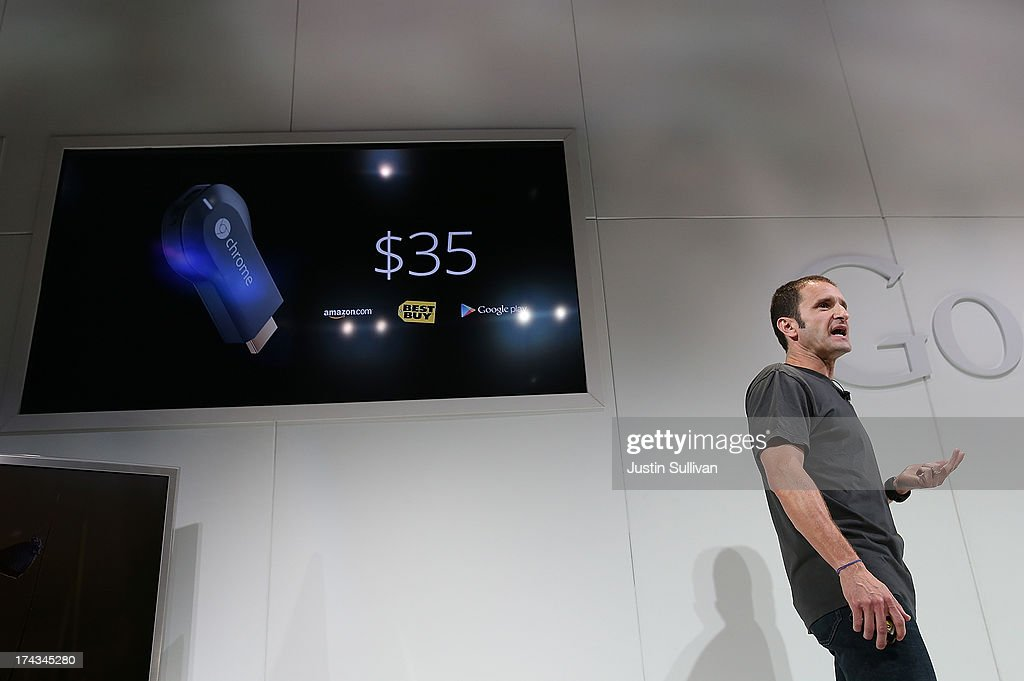 Mario Queiroz, Vice President of Product Management at Google, announces the new Google Chromecast SDK as he speaks during a special event at Dogpatch Studios on July 24, 2013 in San Francisco, California. Google announced a new Asus Nexus 7 tablet and Chromecast SDK.