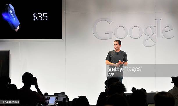 Mario Queiroz Vice President of Product Management at Google announces the new Google Chromecast SDK as he speaks during a special event at Dogpatch...