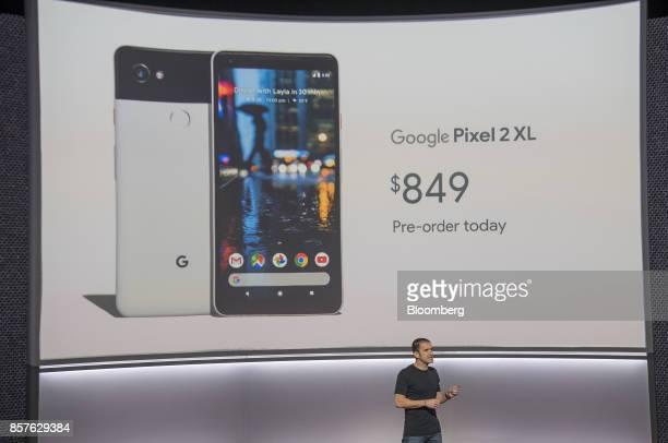 Mario Queiroz vice president of product management for Google Inc speaks about the Google Pixel 2 XL smartphone during a product launch event in San...