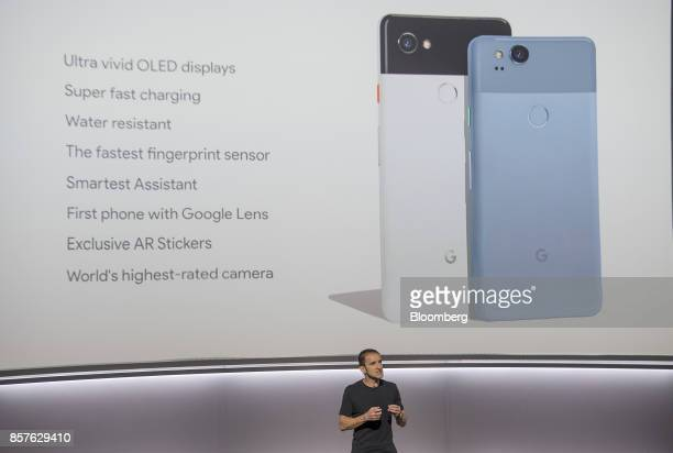 Mario Queiroz vice president of product management for Google Inc speaks about the Google Pixel 2 XL and Pixel 2 smartphones during a product launch...