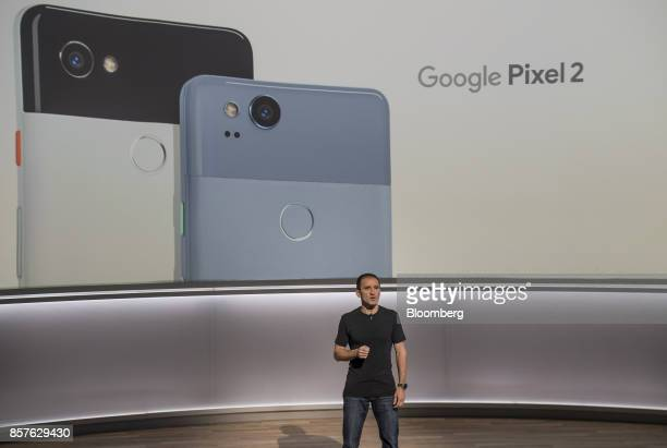 Mario Queiroz vice president of product management for Google Inc speaks about the Google Pixel 2 smartphone during a product launch event in San...
