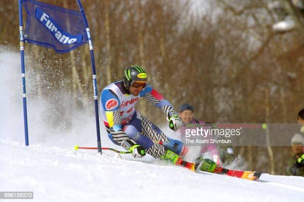 Mario Reiter of Austria competes in the Men's Giant Slalom during day two of the FIS Alpine Skiing World Cup at Furano Ski Resort on February 20 1995...