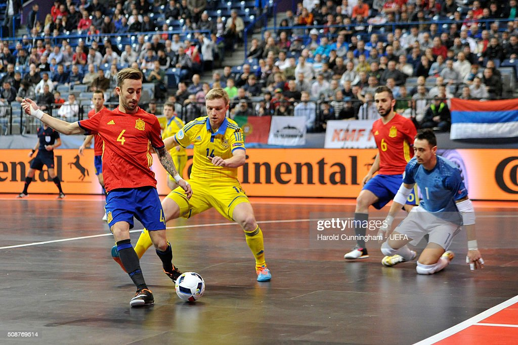 Mario Rivillos of Spain and Mykola Grytsyna of Ukraine in action during the UEFA Futsal EURO 2016 match between Ukraine and Spain at Arena Belgrade on February 6, 2016 in Belgrade, Serbia.