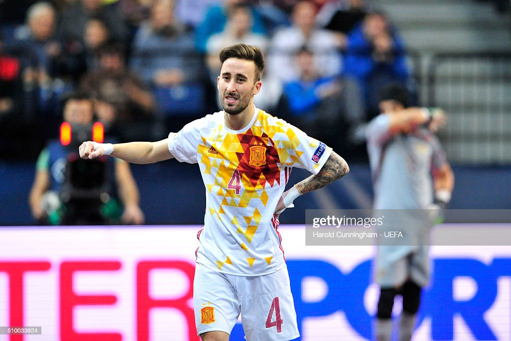 Mario Rivillos of Spain celebrates scoring his team fourth goal during the UEFA Futsal EURO 2016 final between Russia and Spain at Arena Belgrade on February 13, 2016 in Belgrade, Serbia.