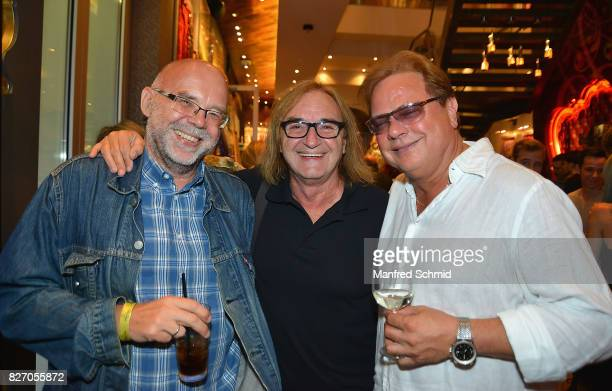 Mario Rossori Peter Pernica and Ewald Pfleger pose during the 3rd birthday party of the Hard Rock Cafe Vienna on August 6 2017 in Vienna