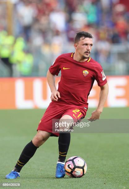 Mario Rui of AS Roma in action during the Serie A match between AS Roma and Genoa CFC at Stadio Olimpico on May 28 2017 in Rome Italy