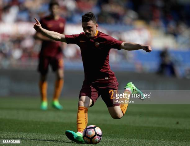 Mario Rui of AS Roma kicks the ball during the Serie A match between AS Roma and Atalanta BC at Stadio Olimpico on April 15 2017 in Rome Italy