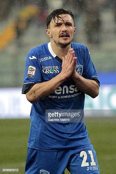 Mario Rui of Empoli FC reacts during the Serie A match between Empoli FC and Frosinone Calcio at Stadio Carlo Castellani on February 13 2016 in...