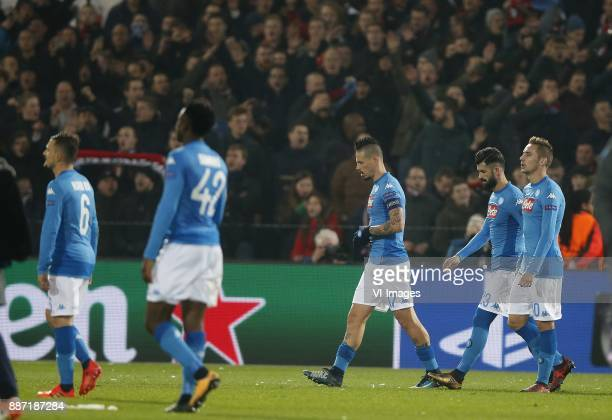 Mario Rui of SSC Napoli Amadou Diawara of SSC Napoli Marek Hamsik of SSC Napoli Elseid Hysaj of SSC Napoli Piotr Zielinski of SSC Napoli during the...