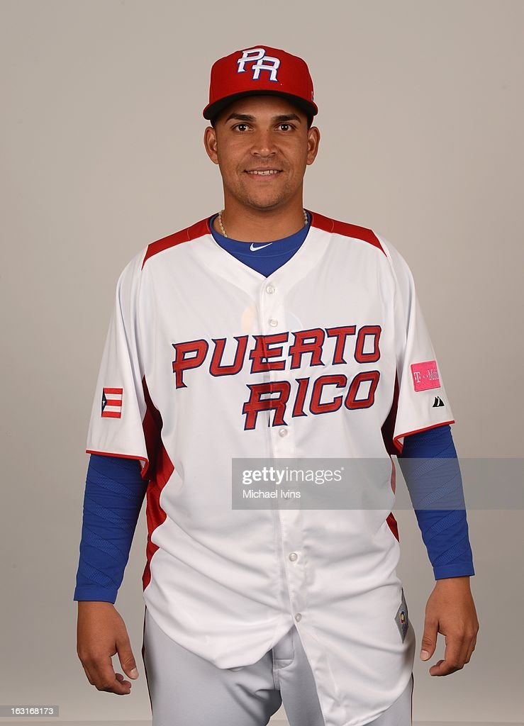 Mario Santiago #48 of Team Puerto Rico poses for a headshot for the 2013 World Baseball Classic at the City of Palms Baseball Complex on Monday, March 4, 2013 in Fort Myers, Florida.