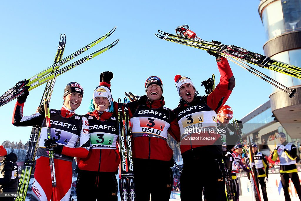 Mario Stecher, David Kreiner, Bernhard Gruber and Felix Gottwald of Austria celebrate after winning the gold medal in the Nordic Combined Team 4x5km race during the FIS Nordic World Ski Championships at Holmenkollen on March 4, 2011 in Oslo, Norway.