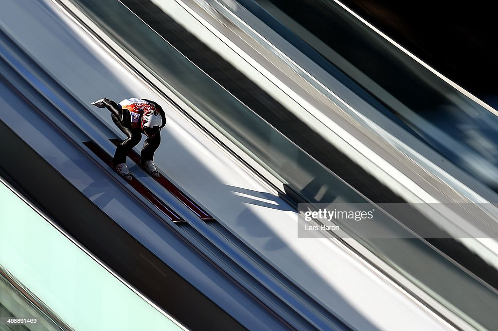 <a gi-track='captionPersonalityLinkClicked' href=/galleries/search?phrase=Mario+Stecher&family=editorial&specificpeople=724611 ng-click='$event.stopPropagation()'>Mario Stecher</a> of Austria competes in a trial jump during the Nordic Combined Individual Gundersen Normal Hill and 10km Cross Country on day 5 of the Sochi 2014 Winter Olympics at the RusSki Gorki Ski Jumping Center on February 12, 2014 in Sochi, Russia.
