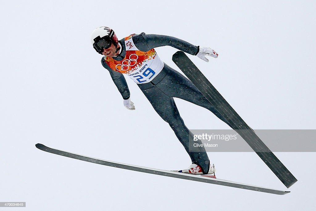 <a gi-track='captionPersonalityLinkClicked' href=/galleries/search?phrase=Mario+Stecher&family=editorial&specificpeople=724611 ng-click='$event.stopPropagation()'>Mario Stecher</a> of Austria competes in a trial jump for the Nordic Combined Men's Individual LH during day 11 of the Sochi 2014 Winter Olympics at RusSki Gorki Jumping Center on February 18, 2014 in Sochi, Russia.
