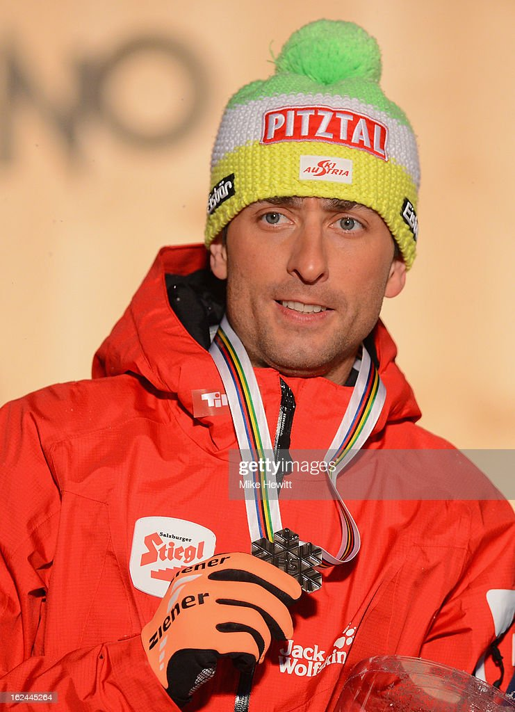Mario Stecher of Austria poses with his Silver medal at the medal ceremony for the Men's Nordic Combined 106+10km at the FIS Nordic World Ski Championships on February 23, 2013 in Val di Fiemme, Italy.