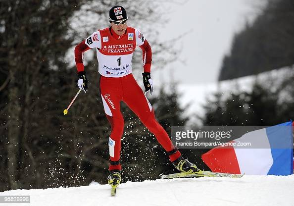 Mario Stecher of Austria takes 3rd place during the DKB Nordic Combined FIS World Cup Gundersen HS100/10 km on January 17 2010 in ChauxNeuve France