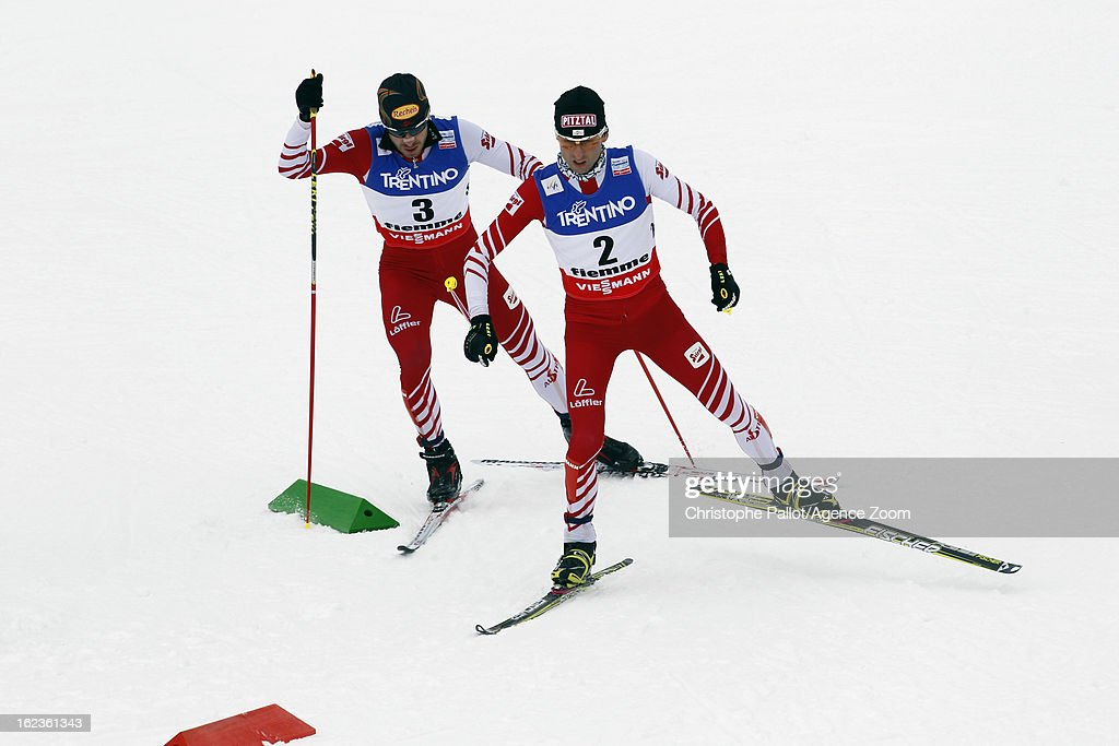 Mario Stecher of Austria takes the silver medal competes during the FIS Nordic World Ski Championships Nordic Combined HS106/10km on February 22, 2013 in Val di Fiemme, Italy.