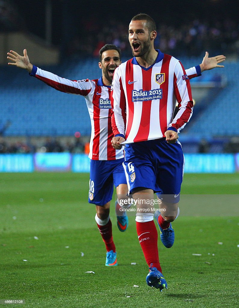 Mario Suarez of Atletico Madrid celebrates scoring the opening goal during the UEFA Champions League round of 16 match between Club Atletico de Madrid and Bayer 04 Leverkusen at Vicente Calderon Stadium on March 17, 2015 in Madrid, Spain.