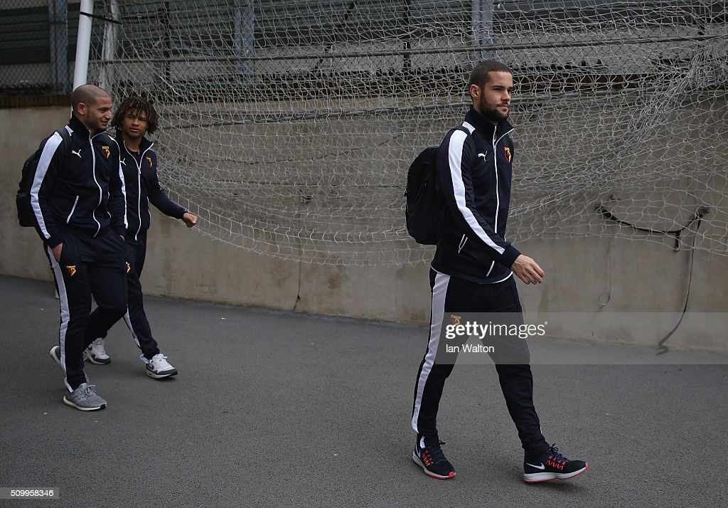 Mario Suarez of Watford is seen on arrival at the stadium prior to the Barclays Premier League match between Crystal Palace and Watford at Selhurst Park on February 13, 2016 in London, England.