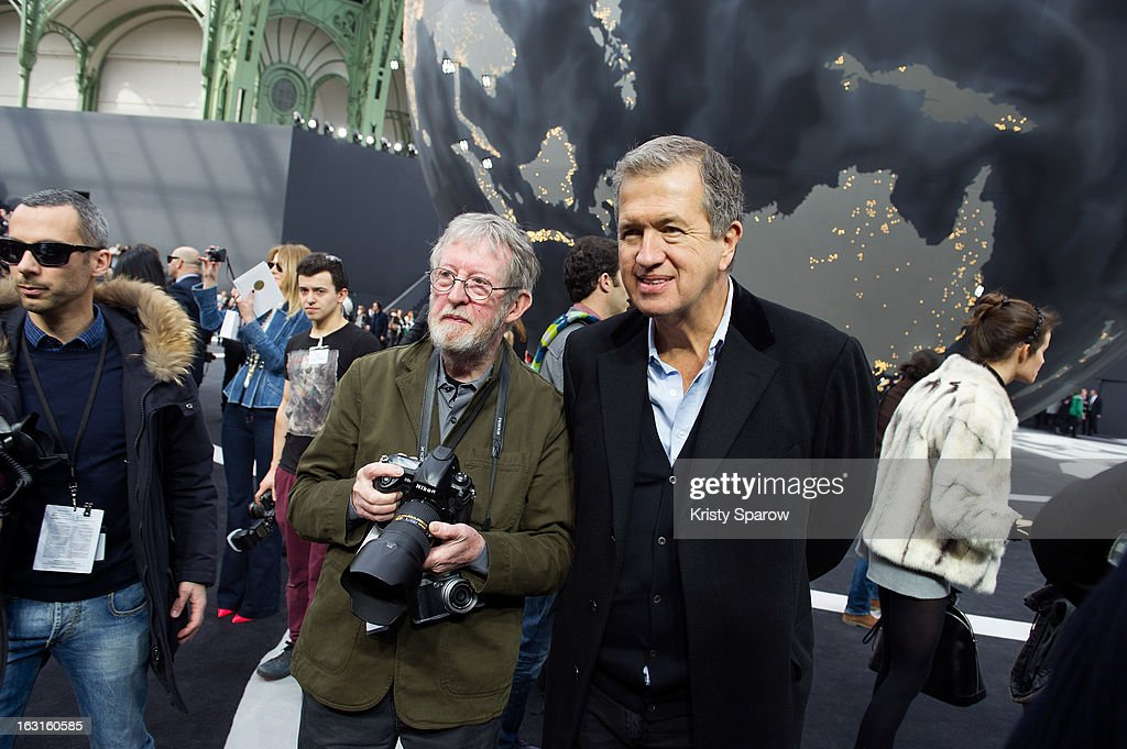 Mario Testino (R) and Chris Moore attend the Chanel Fall/Winter 2013/14 Ready-to-Wear show as part of Paris Fashion Week at Grand Palais on March 5, 2013 in Paris, France.