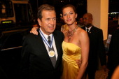 Mario Testino and Gisele Bundchen during Mario Testino Receives from the Legislative Assembly of the State of Rio the Tiradentes Medal at Copacabana...